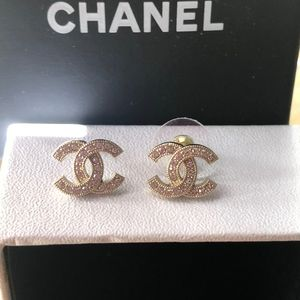 Authentic Chanel Gold Rhinestone Earrings
